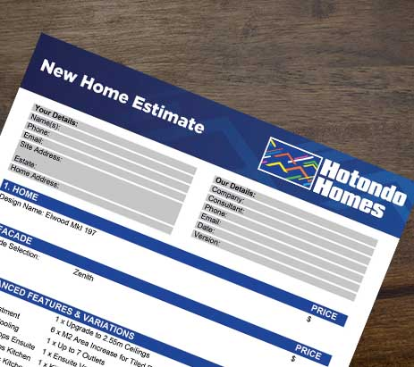 Estimating Tool Hotondo Homes